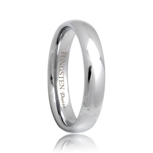 Round Tough 4mm Tungsten Carbide Wedding Band