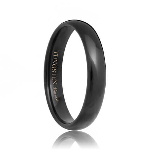 Round Black 4mm Tungsten Wedding Band