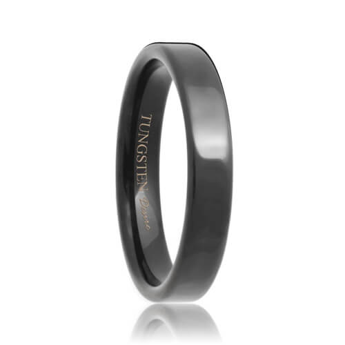 Flat 4mm Black Tungsten Carbide Wedding Band
