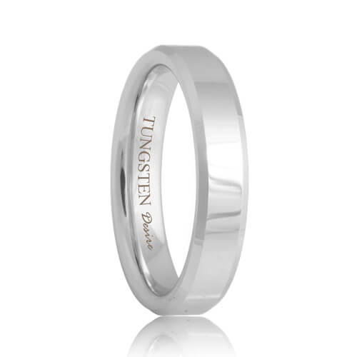 Beveled Tungsten Carbide Wedding Promise Ring