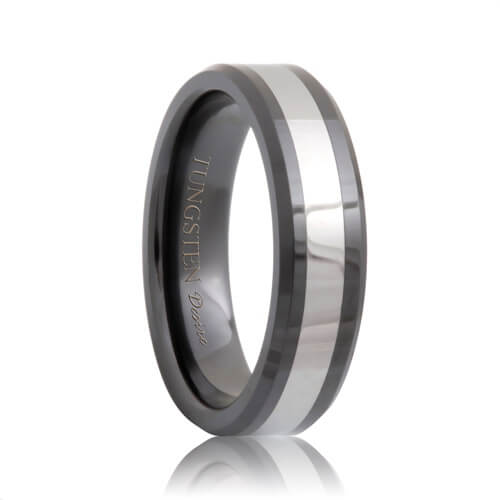 Beveled Black Ceramic Tungsten Inlaid Ring