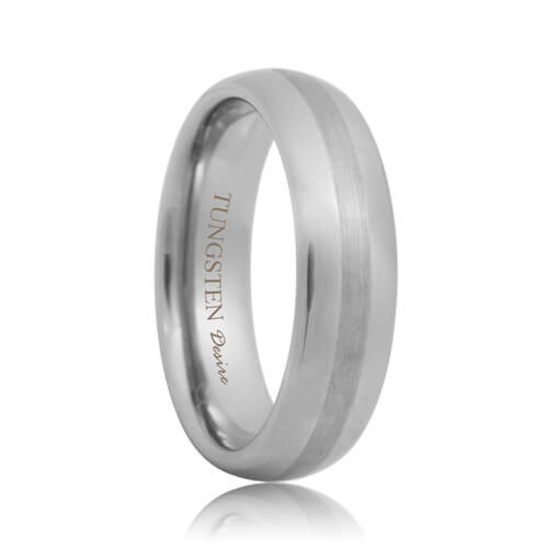 Round Brushed Stripe Tungsten Engagement Wedding Band
