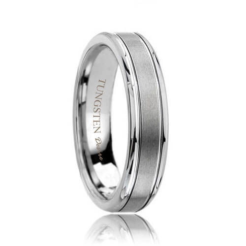 Brushed Designer Tungsten Carbide Wedding Band with Grooves