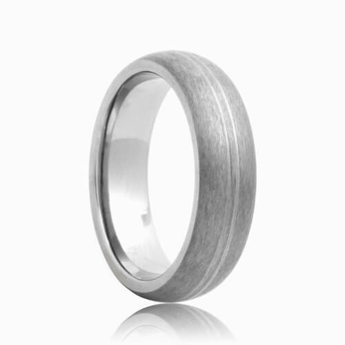 Domed Grooved Center Brushed Durable Tungsten Wedding Band (6mm - 8mm)
