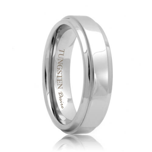 Raised Center Polished Unique Tungsten Carbide Band