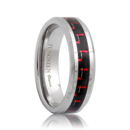 Black And Red Carbon Fiber Inlaid Tungsten Carbide Ring