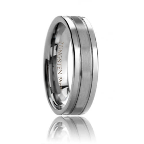 Flat Dual Groove Brushed Center Polished Shine Edges Tungsten Ring