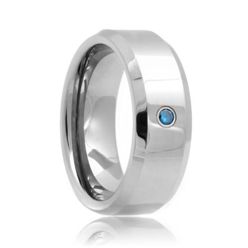 Blue Diamond Solitaire Beveled Tungsten Wedding Band (6mm - 8mm)