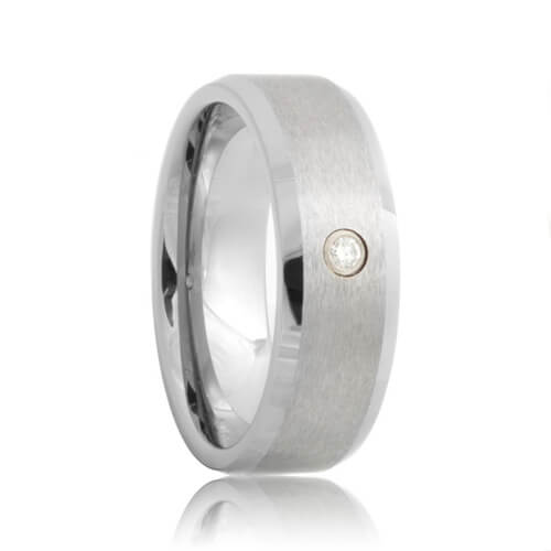 Diamond Solitaire Beveled Brushed Tungsten Carbide Wedding Ring (6mm - 8mm)