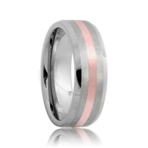Beveled Brushed Rose Gold Inlaid Tungsten Band (6mm - 8mm)