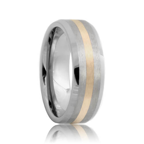 Beveled Brushed Sterling Silver Inlay Tungsten Band (6mm - 8mm)