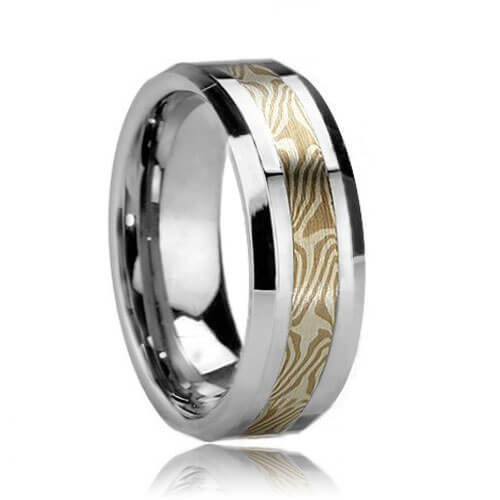 Beveled Wood Grain Style Tungsten Ring with Mokume Gane Inlay (6mm - 8mm)