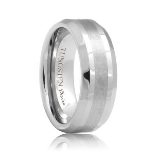 Beveled Tungsten Promise Ring with a Brushed Stripe (6mm - 8mm)