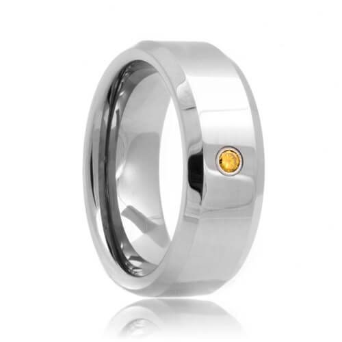 Yellow Diamond Solitaire Beveled Tungsten Carbide Wedding Ring (6mm - 8mm)