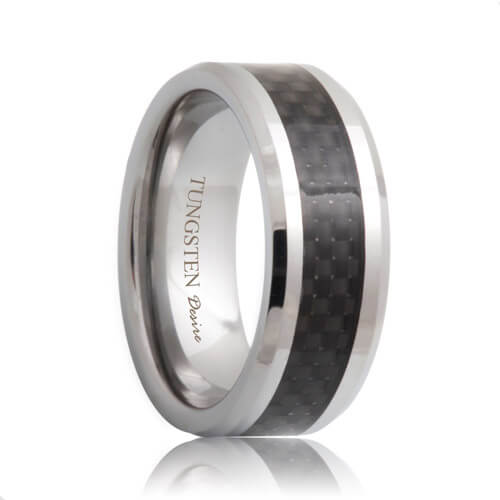 Black Carbon Fiber Inlay Tungsten Ring (6mm - 8mm)