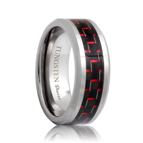 Red And Black Carbon Fiber Inlay Beveled Tungsten Wedding Ring (6mm - 8mm)