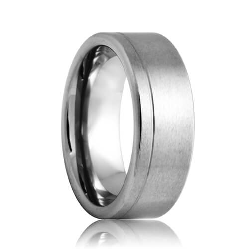 Flat Offset Single Groove Brushed Tungsten Jewelry Band (6mm - 8mm)