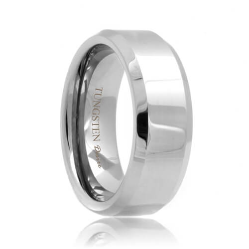 Beveled White Tungsten Band (4mm - 8mm)