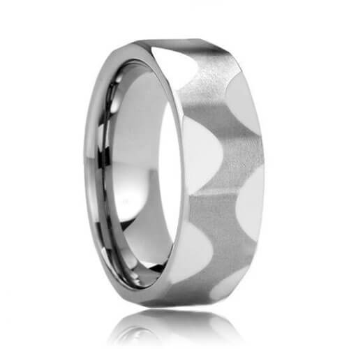 Brushed Oscillating Pattern Unique Tungsten Carbide Wedding Ring (6mm - 8mm)