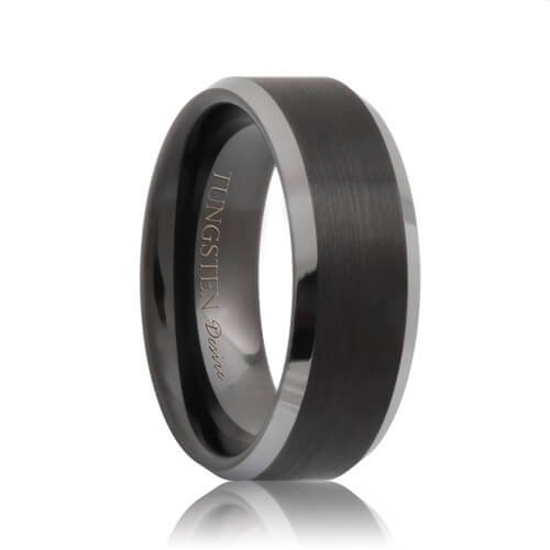 Brushed Beveled Black Tungsten Ring with Polished Edges