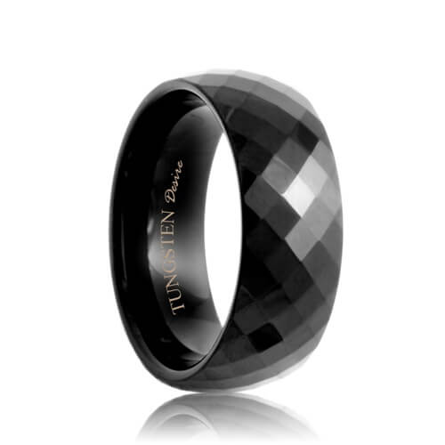 Diamond Faceted Black Tungsten Carbide Wedding Ring