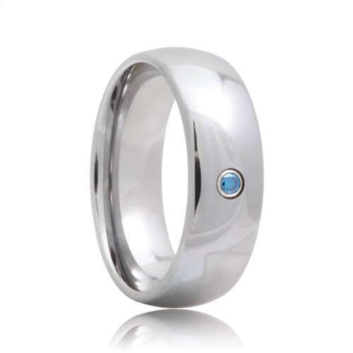 Blue Diamond Solitaire Domed Tungsten Carbide Ring (6mm - 8mm)