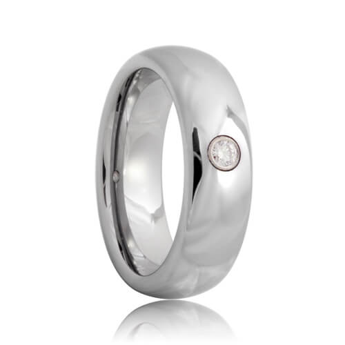 Diamond Solitaire Domed Tungsten Carbide Wedding Band (6mm - 8mm)