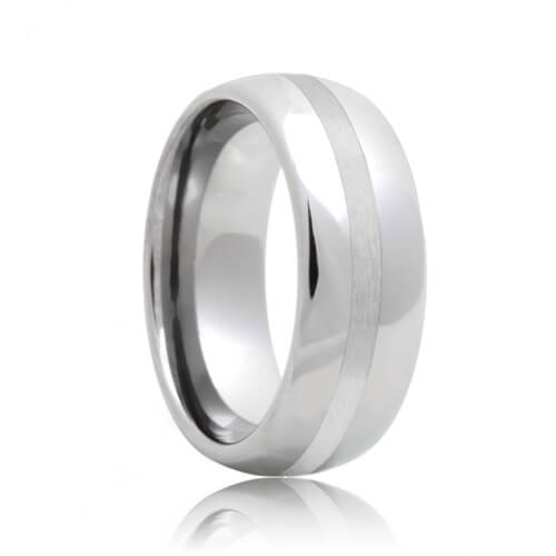 Domed Platinum Inlay Tungsten Wedding Band (6mm - 8mm)
