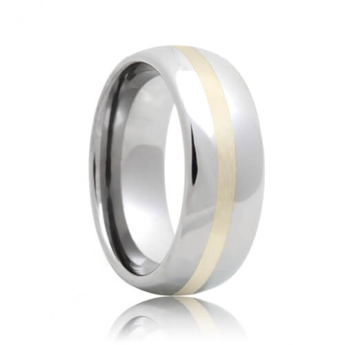 Domed Tungsten Carbide Wedding Ring with Sterling Silver Inlaid (6mm - 8mm)