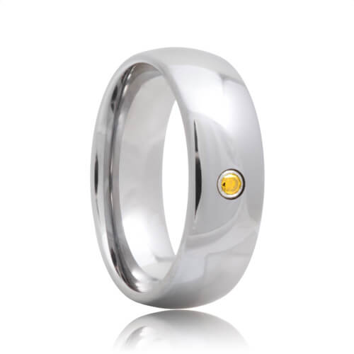 Yellow Diamond Solitaire Domed Tungsten Carbide Band (6mm - 8mm)