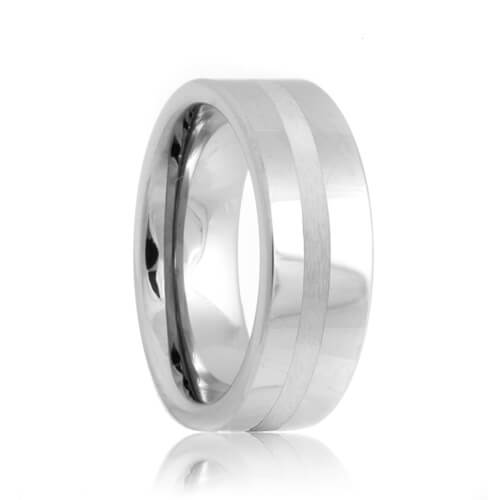 Flat Platinum Inlayed Tungsten Carbide Wedding Band (6mm - 8mm)