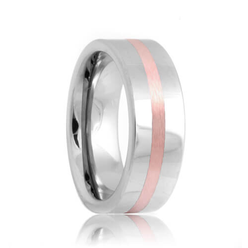 Flat Rose Gold Inlaid Tungsten Carbide Band (6mm - 8mm)