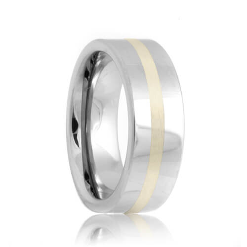 Flat Sterling Silver Inlay Tungsten Wedding Ring (6mm - 8mm)
