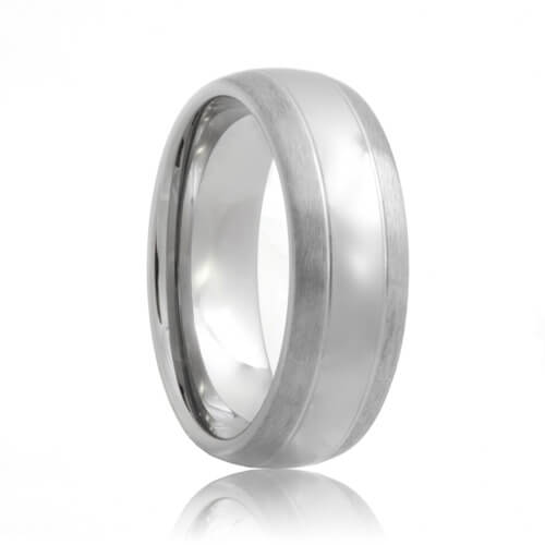 Domed Dual Groove Brushed Edges Polished Center Tungsten Engagement Ring