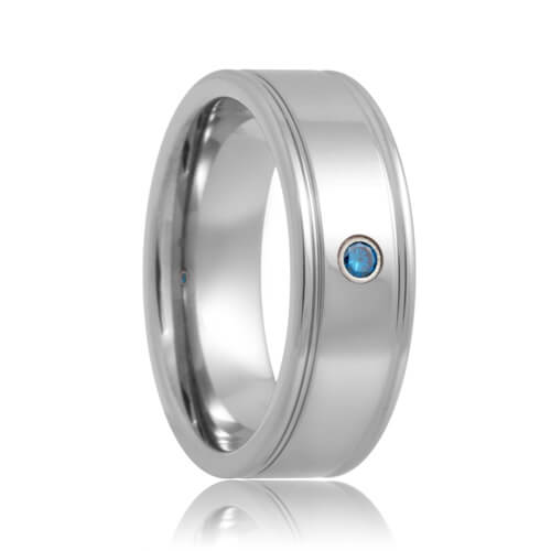 Blue Diamond Solitaire Dual Groove Tungsten Band (6mm - 8mm)