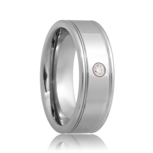 Diamond Solitaire Dual Groove Tungsten Carbide Band (6mm - 8mm)