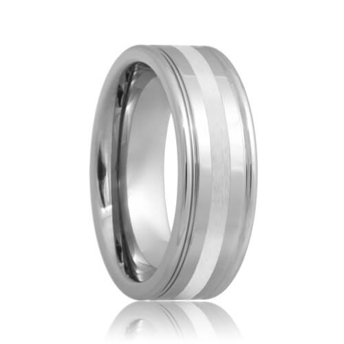 Dual Grooved Tungsten Ring with Platinum Inlay (6mm - 8mm)