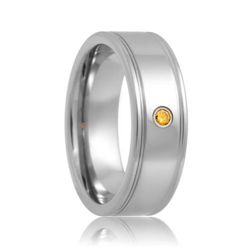 Yellow Diamond Solitaire Dual Groove Tungsten Carbide Ring (6mm - 8mm)