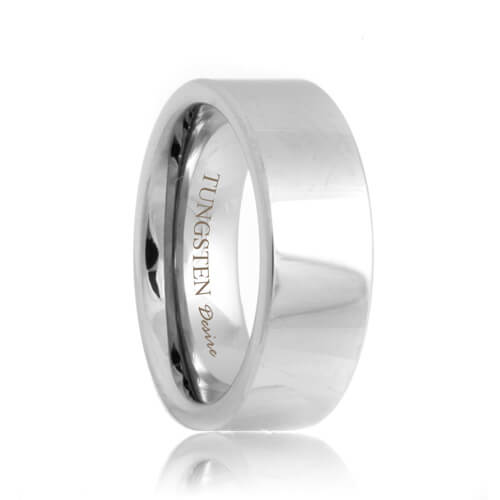 Flat White Tungsten Wedding Band (4mm - 8mm)