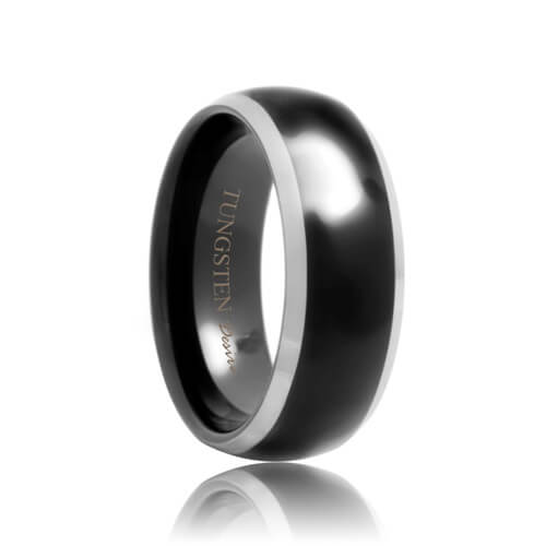 Domed Black Tungsten Band with Polished Beveled Edges (4mm - 8mm)