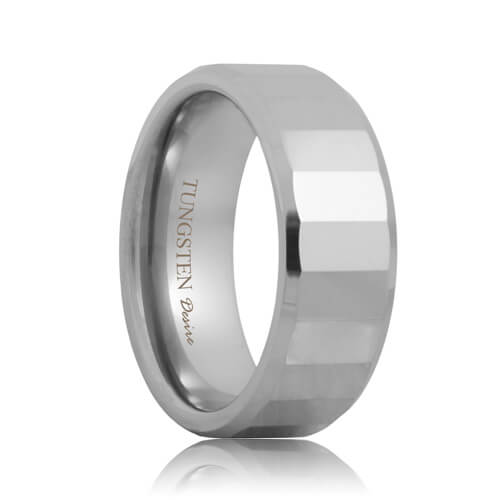 Rectangular Faceted Tungsten Carbide Promise Ring (6mm - 8mm)