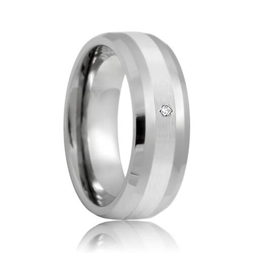 Beveled Diamond Solitaire Platinum Inlay 8mm Tungsten Carbide Wedding Band