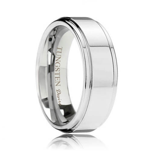 Polished Step Edge Best Tungsten Wedding Ring (6mm - 8mm)
