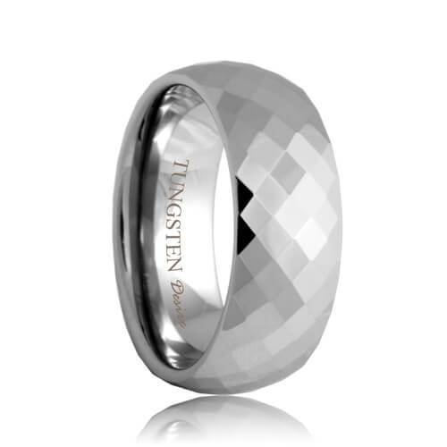 Diamond Faceted Tungsten Carbide Wedding Ring (4mm - 8mm)