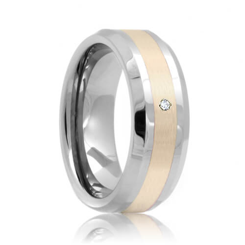 Beveled Diamond Solitaire Sterling Silver Inlaid 8mm Tungsten Carbide Ring