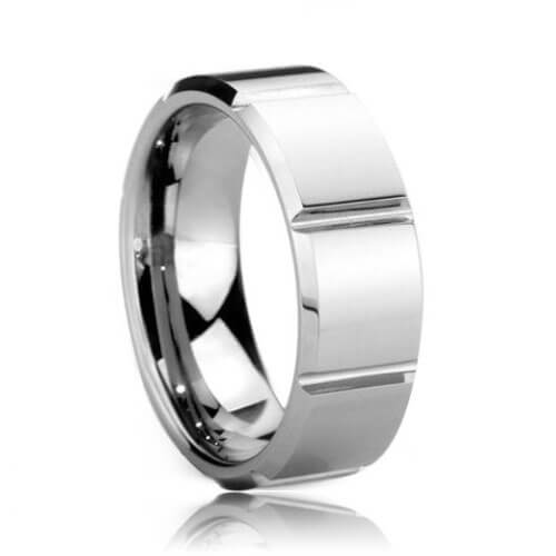 Square Faceted Comfort Fit 8mm Tungsten Carbide Wedding Ring