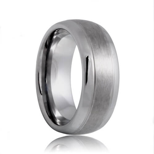 Domed Dual Groove Brushed Center Polished Edges Tungsten Jewelry Band