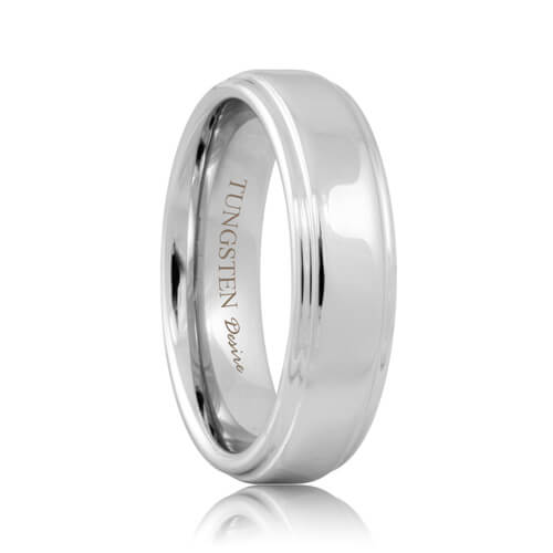 White Tungsten Raised Polished Center Ring