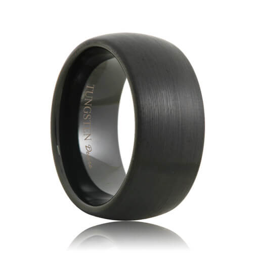 Rounded 10mm Wide Brushed Black Tungsten Band