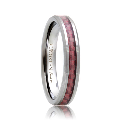 4mm Tungsten Carbide Band with Pink Carbon Fiber